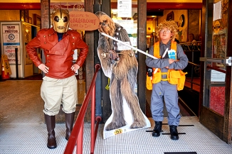 Photos: Patrick McKinnie William Fong (left) and Connor Fong (right) pose in their costumes next to the Balboa-Con movie festival mascot on Sunday, Sept. 19.