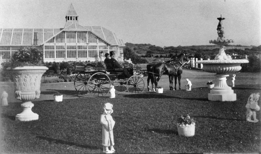 This view from 1886 looking east shows the carriage circle at Sutro Heights with Adolph Sutro sitting in a buggy. His conservatory is visible in the distance. The conservatory and almost every other building at Sutro Heights Park are now long gone, but you can still find a little hidden history: the floor to this beautiful glass building. Photo courtesy of a private collector/Western Neighborhoods Project/OpenSFHistory.